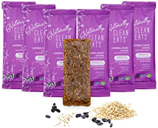 Vegan Protein Bars | Naturally Clean Eats Gluten-Free Snacks for Healthy Energy & Nutrition | Made with Prebiotics, No Added Sugar & All-Natural Ingredients | Oatmeal Raisin Cookie 6 Pack