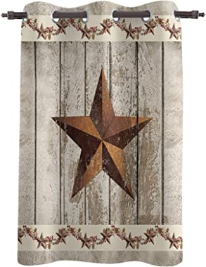 Blackout Window Curtains Vintage Brown Stars on Wooden Plank Thermal Insulated Window Drapes Farm Berry Room Darkening Treatm