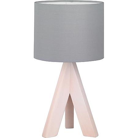 Reality, Lampe de table, Ging 1xE14, max.40,0 W Tissu, Gris, Corps: Bois naturel, couleur de bois Ø:17,0cm, H:31,0cm IP20,Interrupteur de cordon