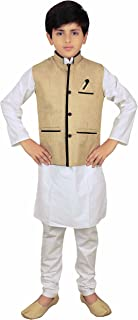 Boys Indian Light Gold Modi Nehru Gandhi Style kids Waistcoats waist coat 010