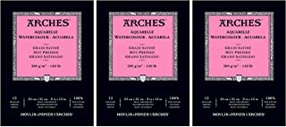 "Arches Watercolor Pad, Hot Press 9""X12"", 3 Pack"