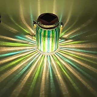 Solar Lantern Jar Lights Outdoor Table Light Mason Jars Green Stripe Hanging Tree Lights Glass Ball Sogrand Bright High 20 Lumens LED Tabletop Lanterns Decorative Lamp for Gift Patio Garden Party