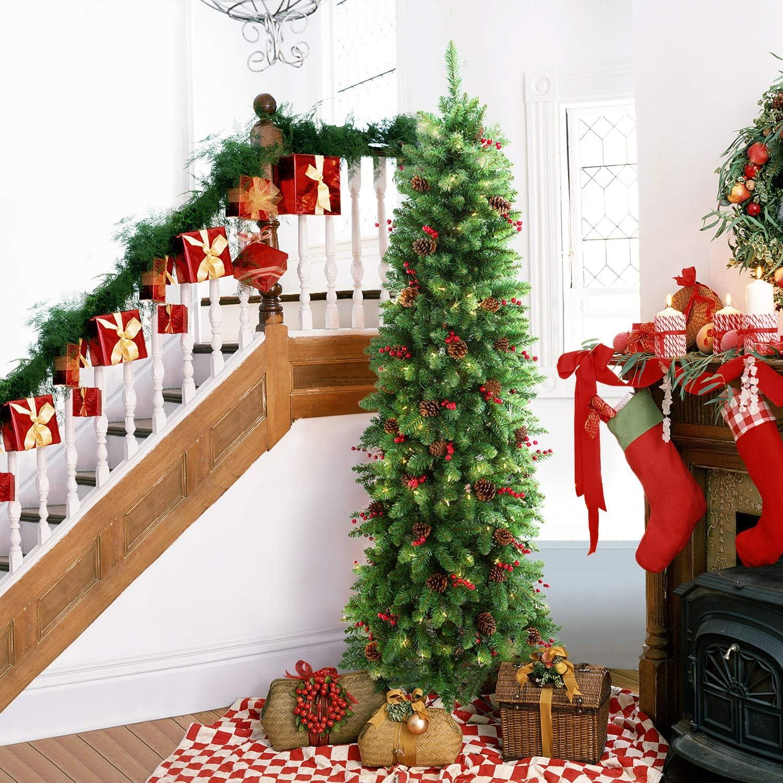 LIFEFAIR 6.5FT Prelit Slim Christmas Decorated Pine Regular store Brand new wi Tree
