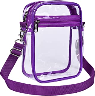 """Clear Messenger Bag for Work & Business Travel for Men & Women, Stadium Approved, Purple, 8.7"""" x 6.7"""" x 2.8"""