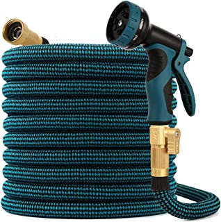 kegemor Garden Hose 100ft ,Flexible Lightweight Water Hose With 9 Way Nozzle,Durable 4-layer Latex Core,3/4inch Solid Bras...