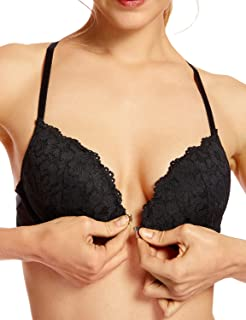 Women's Floral Lace Back Front Closure Padded Push Up Underwire Bra Plunge