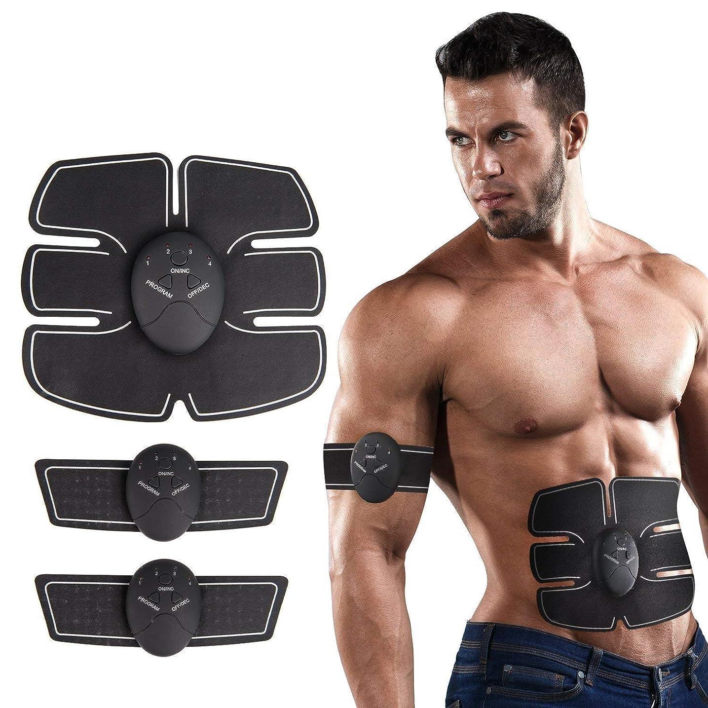 ますます魔女領事館フィットネス腹筋トレーナーEMS筋刺激剤筋トナー腹筋マッサージ器、家庭用ユニセックスUSB充電腹部/腕/脚重量を減らすためのトレーニング腹筋トレーニング