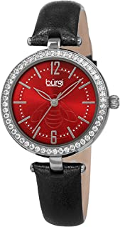 Burgi Womens Quartz Watch, Analog Display and Leather Strap BUR235SSBK