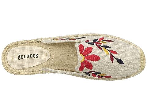 Medianoche Roja Bordados Soludos Multi Ivorysand Mula Florales xwt618