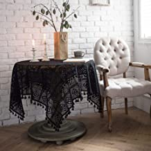 Black handmade crochet round tablecloth knitted hollow art coffee table cloth shooting background cloth 85 * 85cm