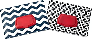 Be Bundles Wet Wipes Pouch VERSION 2 - NEW replacement snap-on lid included, 2-Pack, Black Geometric/Navy Chevron - VINYL FREE (EVA and PVC)!!