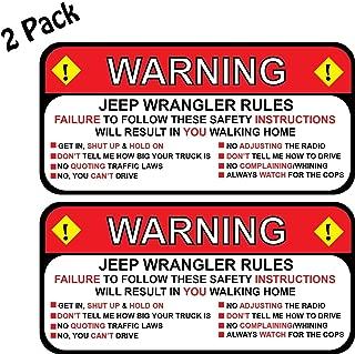 Pair (2) Jeep Rules Warning Wrangler Sahara Decal Sticker Funny 2.5