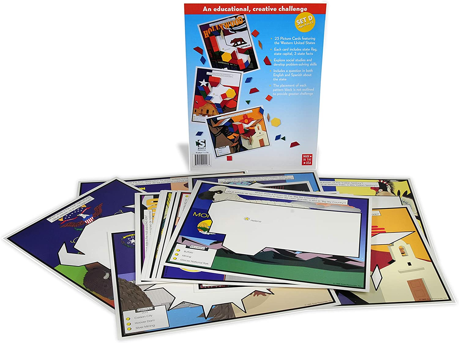 American Educational Western States Pattern Block Picture Cards Set D (25 CardSet)