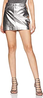 Forever Twenty One Synthetic Body con Skirt (54666022_Silver_Small)