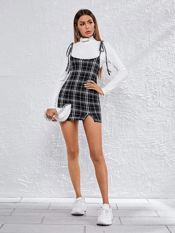 Women High Waist Suspender Skirt Plaid Print Split Hem Pinafore Bodycon Overall Dress