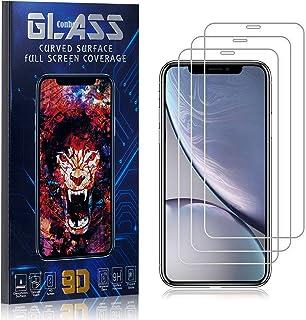 Conber Verre Trempé pour iPhone XR, [3 Pièces] Dureté 9H, Réponse Tactile, sans Bulles, Film de Protection d'écran pour iP...
