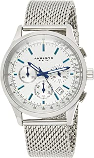 Men's Chronograph Watch - 4 Subdials Multifunction Complications with Tachymeter on Heavy Stainless Steel Bracelet Watch - AK1072