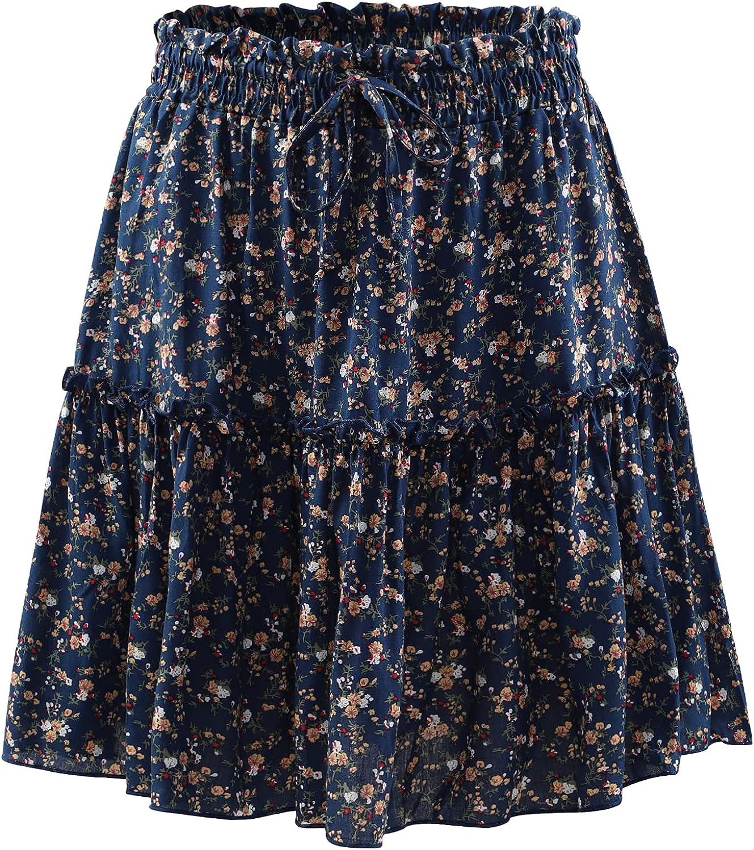 Women's Floral Floral Elastic High Waist Skirt Short Ruffled Mini Skirt