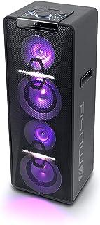 Muse Enceinte de fête, Bluetooth, avec Batterie, Lecteur CD et Effets Lumineux (USB, AUX), Noir 500 Watt Noir