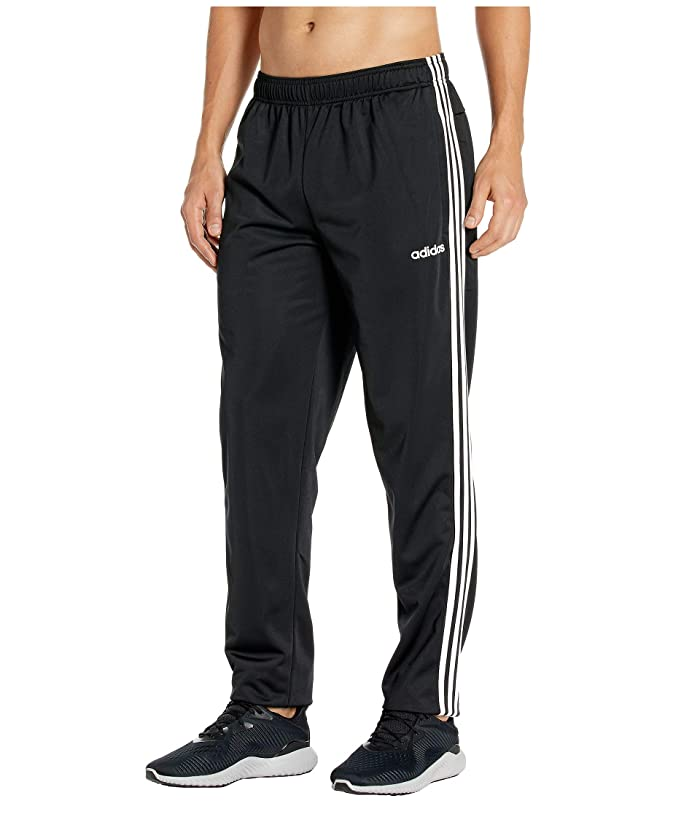 adidas  Essentials 3-Stripe Tricot Tapered Pants (Black/White) Mens Workout