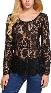 Zeagoo Women's Long Sleeve Sexy Sheer Lace Blouse Top