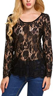 Women's Long Sleeve Sexy Sheer Floral Lace Blouse Top S-3XL