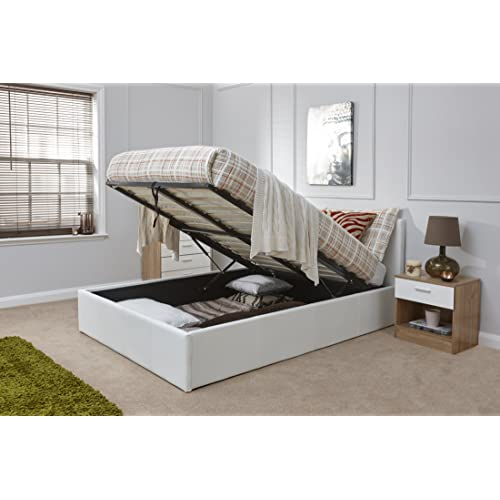 56a89baddea2 Right Deals UK Caspian Ottoman Gas Lift Up Storage Bed - White 4ft Small  Double