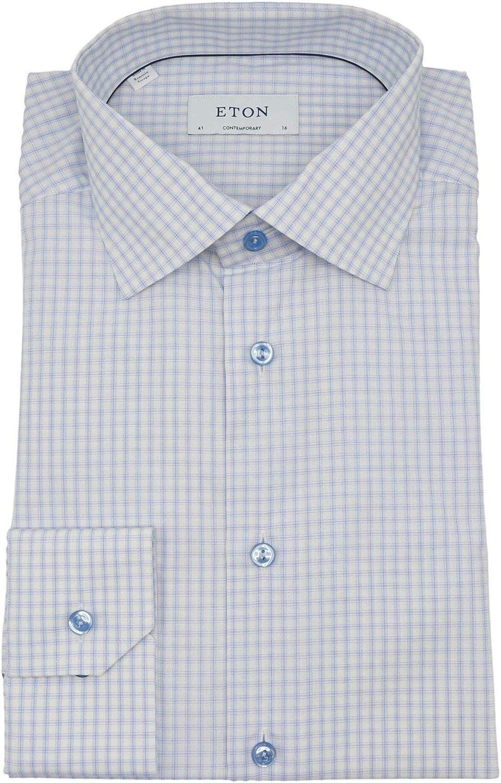 Eton Men's Multi Blue Check Contemporary Fit Checked Poplin Shirt Dress - 41-16 (L)