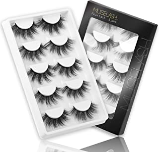 MUSELASH 3D False Eyelashes,5 Pairs Faux Mink Lashes Pack Handmade,Luxurious Volume Fluffy Soft Reusable Fake lashes for W...