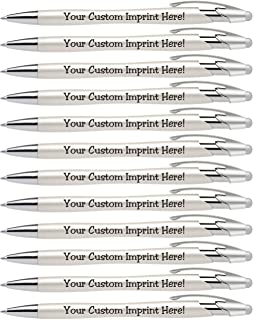Custom Pens with Stylus - The Pearl - Personalized Metallic Printed Name Pens with Black Ink - Imprinted with Logo or Mess...