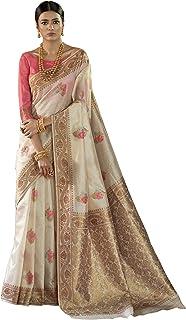 0dee0d409a AKHILAM Women's Silk Blend Saree with Unstitched Blouse Piece  (Beige_KNSLA80004)