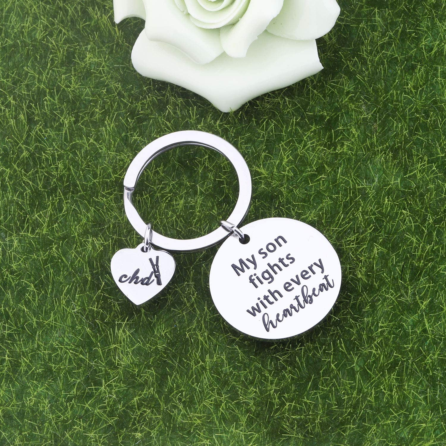 SEIRAA CHD Awareness Keychain My Son Fights with Every Heartbeat CHD Mom Dad Gift