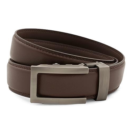 SlideBelts Mens Top Grain Leather Ratchet Belt