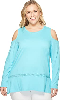 Plus Size Long Sleeve Cold Shoulder Insert Top