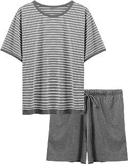 Ekouaer Men's Soft Short SleevePajamasSet CrewNeck Striped Shorts & T-Shirt Loungewear