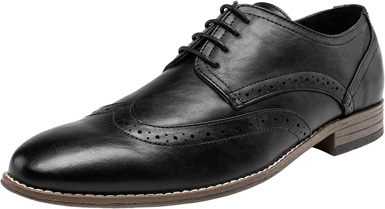 JOUSEN Men's Oxford Classic Wingtip Brogue Formal Dress shoes(13,Black)