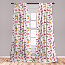 Ambesonne Ice Cream 2 Panel Curtain Set, Cartoon Style Cones with Vibrant Colored Creamy Scoops and Popsicles Tooth, Lightweight Window Treatment Living Room Bedroom Decor, 56