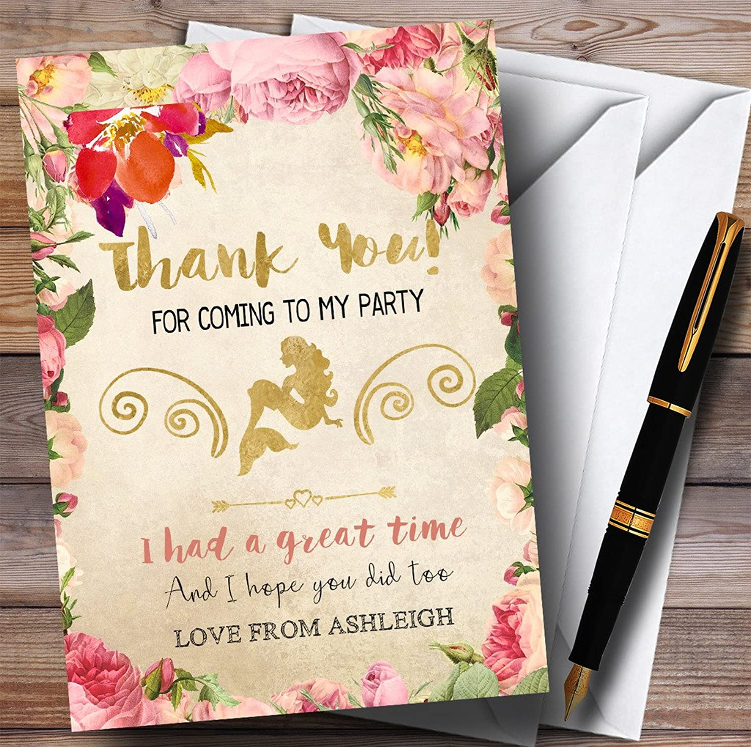 Autumn gold Mermaid Party Thank You Cards