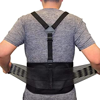 AllyFlex Lumbar Support Back Brace with Suspenders, 3-Way Adjustable Safety Belt with Dual Lumbar Pads for Lower Back Supp...