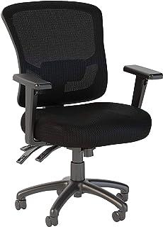 Bush Business Furniture Easy Office White Custom Comfort Mid Back Multifunction Mesh Manager`s Chair, Black