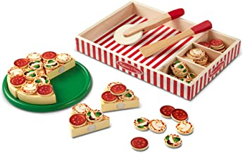 Melissa & Doug Pizza Party Wooden Play Food (Pretend Play Pizza Set, Self-Sticking Tabs, 54 + Pieces, Great Gift for Girls and Boys - Best for 3, 4, and 5 Year Olds)
