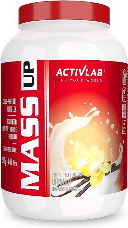 Activlab Mass Up Paquete de 1 x 2000 g Gainer – Carbohidratos con Concentrado de Proteína de Suero y Creatina - Ganancia Muscular Polvo (Strawberry)