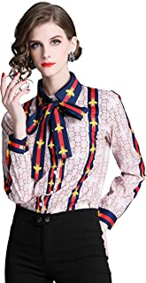 Women's Tie Neck Floral Print Shirt Casual Long Sleeve Button up Blouse Top