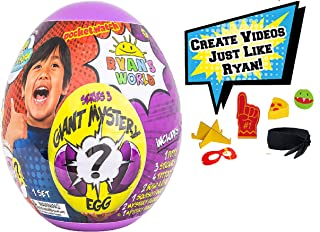 BEB Ryan's World Giant Mystery Egg Series 3, Purple Kids Ryans Toy Review Playset Birthday Christmas Holiday 2019 Gift Set Bundle with Ryan Ultimate Video Creation Kit Includes Exclusive Bonus Toy
