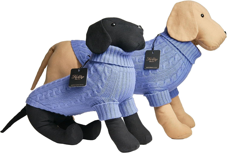100% bluee Merino Wool Dog Sweater Turtleneck (XS)