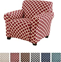 Home Fashion Designs Printed Twill Arm Chair Slipcover. One Piece Stretch Chair Cover. Strapless Arm Chair Cover for Living Room. Brenna Collection Slipcover. (Chair, Burgundy)