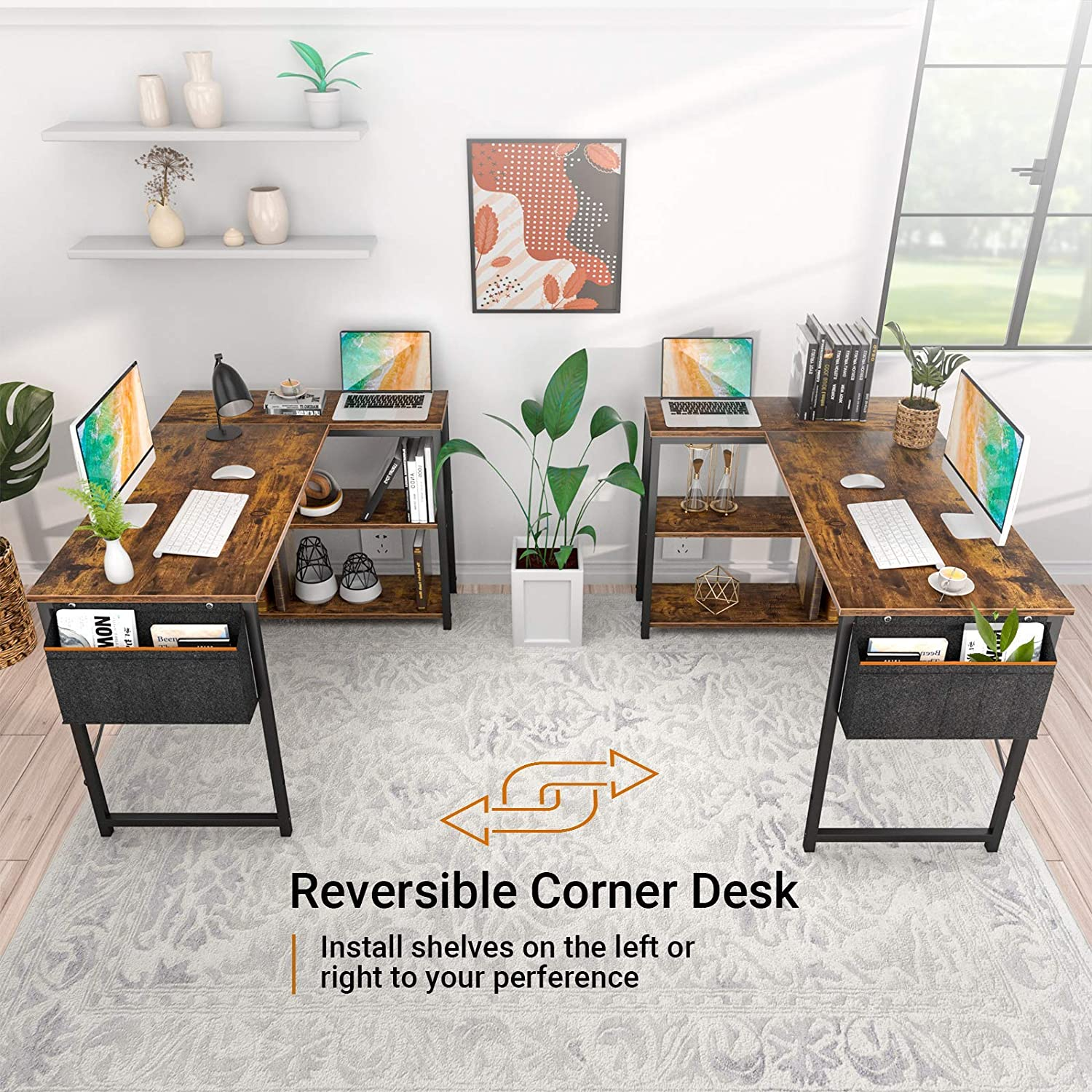 Small L Shaped Computer Desk, Homieasy 47 Inch L-Shaped Corner Desk with Reversible Storage Shelves for Home Office Workstation, Modern Simple Style Writing Desk Table with Storage Bag(Rustic Brown): Kitchen & Dining