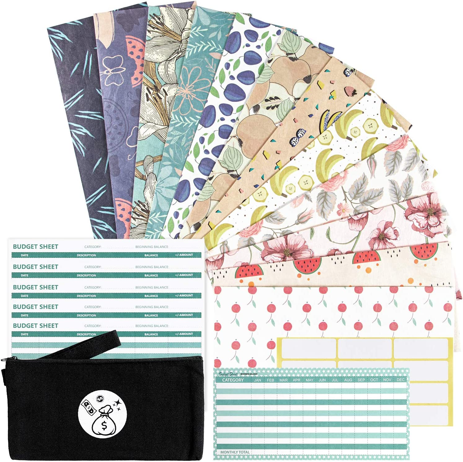 Cash Envelopes Waterproof Budget Envelopes - 12 Money Envelopes + 12 Budget Sheets + 1 Annual Budget Sheet + 1 Carry Pouch, Gift Envelopes Expense Tracking Budget Envelopes for Cash Currency : Office Products