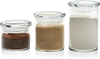 Libbey Cylinder 3-Piece Multi-Size Glass Storage Jar Set with Lids, 15-ounce, 22-ounce, 31-ounce