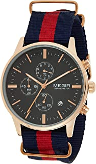 Megir Mens Quartz Watch, Chronograph Display and Nylon Strap - 2011G-6